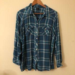 Plus size blue plaid shirt